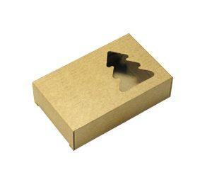 Коробочка из микрогофрокартона. Елочка. Коричневая
