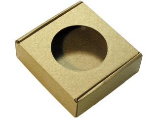 Коробочка из микрогофрокартона с круглым окошком. Коричневая
