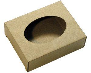 Коробочка из микрогофрокартона с овальным окошком. Коричневая