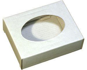 Коробочка из микрогофрокартона с овальным окошком. Белая
