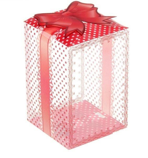 Коробка пластик, высокая с бантом