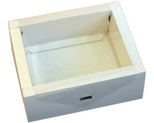 Коробка винтажная средняя с пластиковой крышкой (МГКП-03)белая